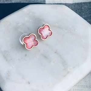 Faceted Clover Earrings Women Blush Stud Post NWT